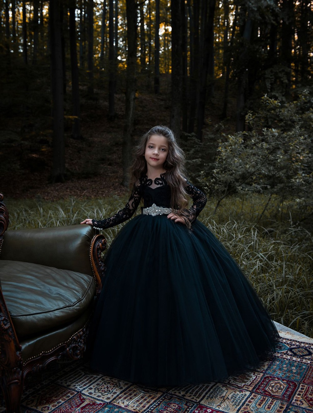 Long SleeveFlower Girl Dresses Lace Mother Daughter Dresses Tulle Children Clothing Ball Gown children clothing mother
