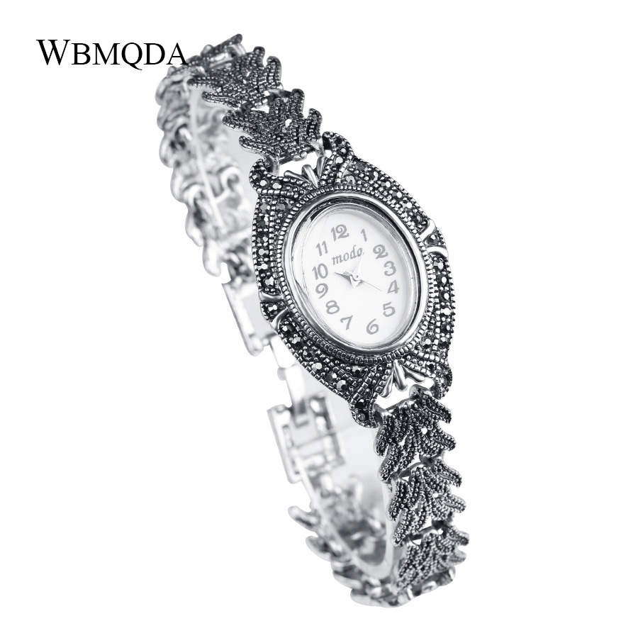 Wbmqda Classic Metal Watch Jewelry Fashion Black Crystal Silver Color Bracelets & Bangles For Women Love Gift Free Shipping