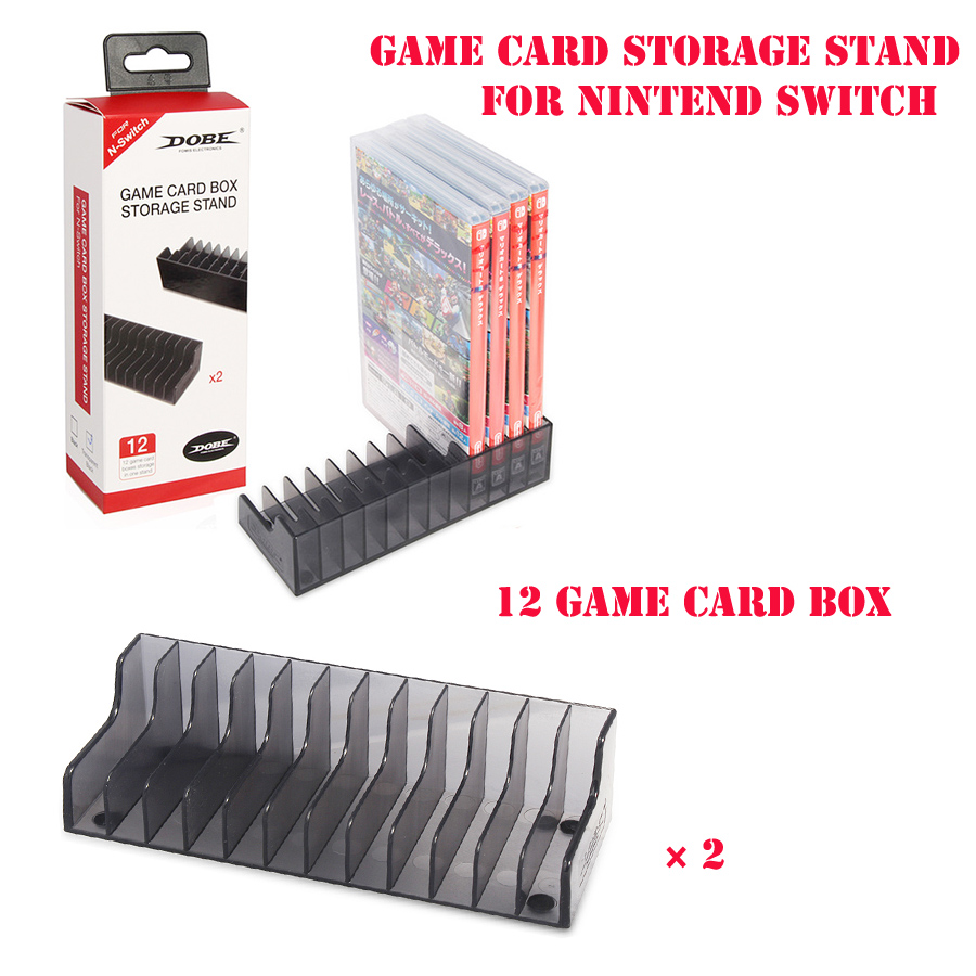 High-quality 2 in 1 2 Pcs Game Card Box Storage Stand CD Disk Holder For Nintend Switch NS Game Cartridge Support 24 Pcs Card