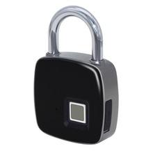 USB Rechargeable Smart Keyless Fingerprint Lock IP65 Waterproof Anti-Theft Security Padlock Door Luggage Case Lock p30