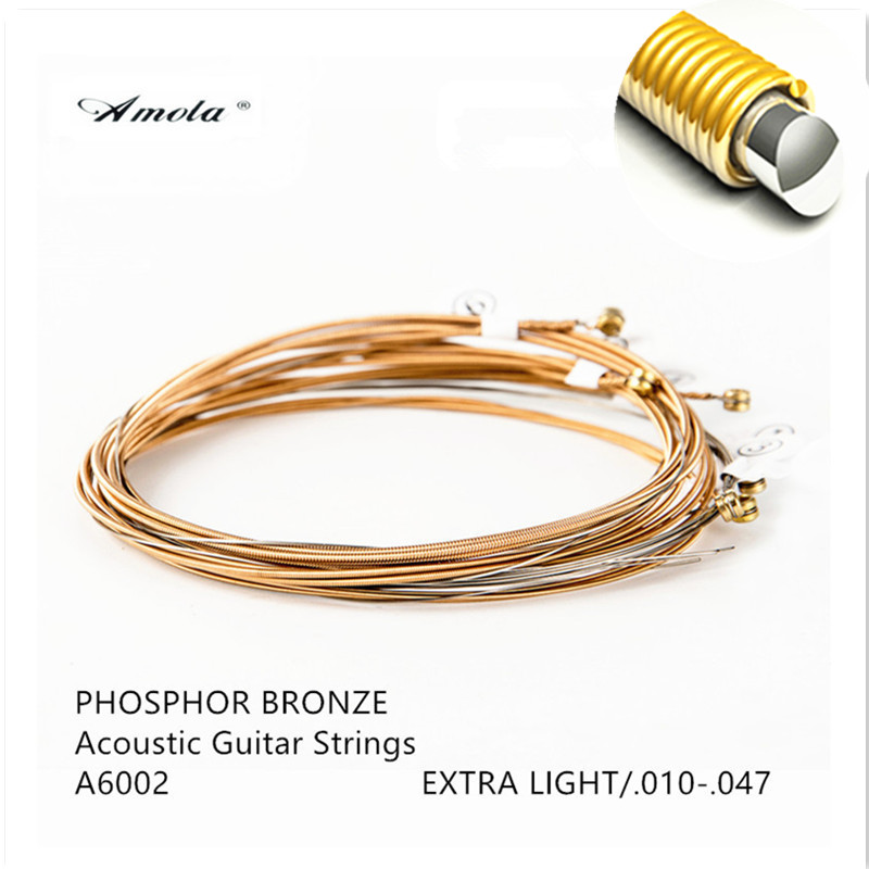A6002 Acoustic Guitar Strings Copper Thin Film with Coating 010-047 80/20 Bronze Wound Guitar Strings Steels 4 Sets