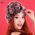 Free shipping 2017 autumn and winter female stereo rose plate capade thickening thermal fur rex rabbit hair hat