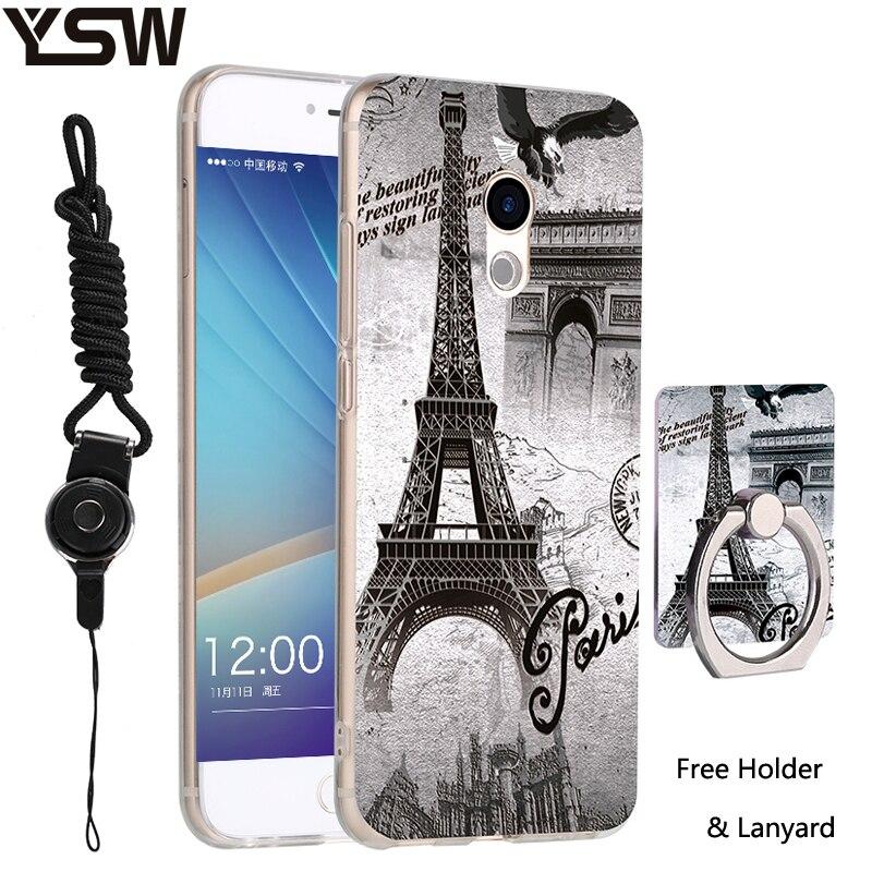 Для Meizu Pro 6 3D помощи печатных силиконовые мультфильм рисунком Телефон Дело PC кольцо держатель и шнурки защитный В виде ракушки pro6 случае