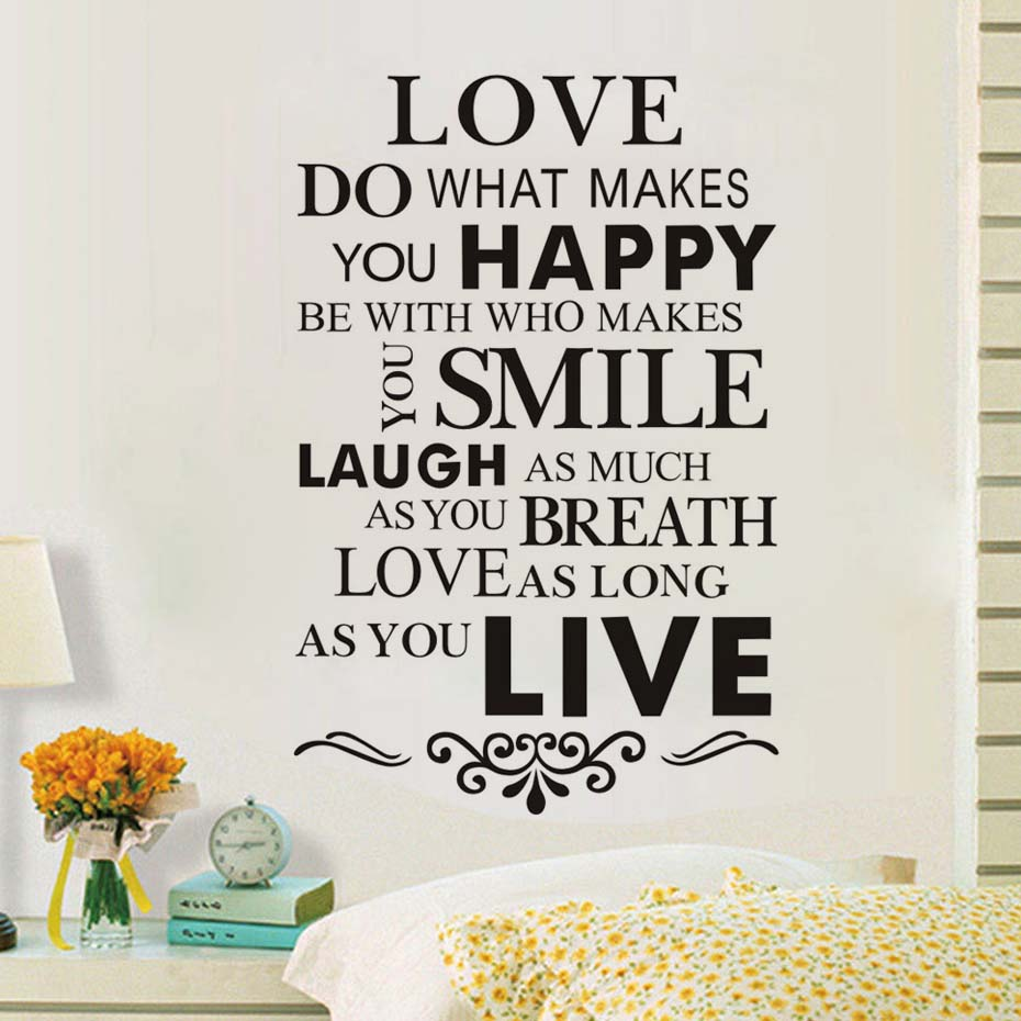 Love Happy Smile Love Quotes Wall Decal Removable PVC Wall Stickers Diy Home Decor Black Wall Art Self Adhesive Wallpaper