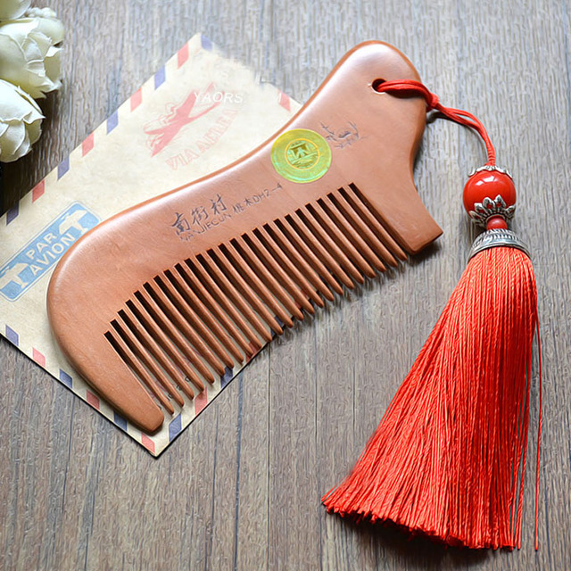 Party Favors Natural Peach Wood Mini Comb with tassel Close Teeth Head Massage Hair Care Tools Hairbrush Hairdressing Accessory 4