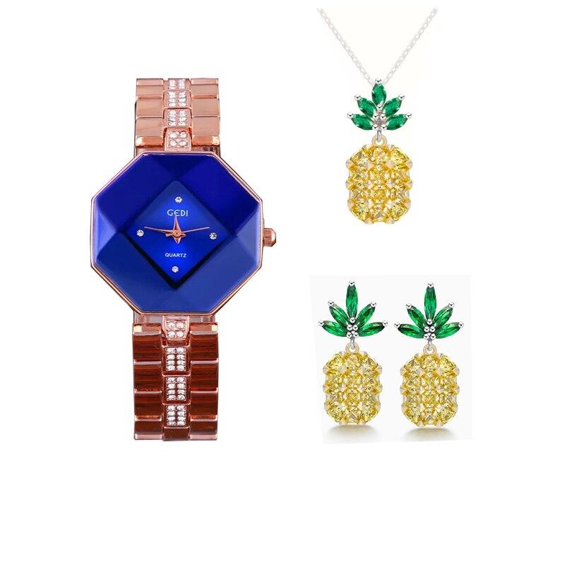 3pcs Set Famous Brand Luxury Watch Women Fashion Rose Bracelet Watch Pineapple Jewelry Sets Ladies Valentine's day Birthday Gift