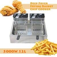 220V 5000W 12L Double Oil Cylinder Restaurant Equipment Kitchen Equipment Pressure Fryer Machine Potato Fryer Air Fryer