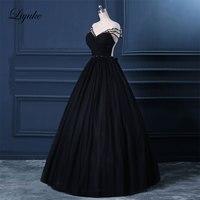 Liyuke qd64 элегантный тюль Бисер кристаллы Кепки рукавом черный бальное платье Бальные платья спинки Высокая декольте вечернее платье