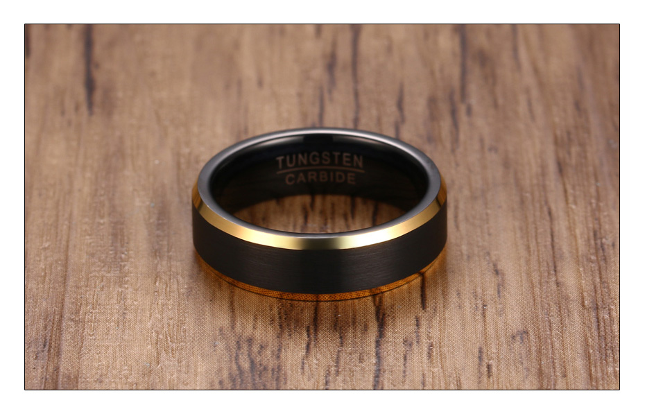 Meaeguet Black & Gold Color Tungsten Carbide Engagement Rings Jewelry Men Matte Brushed Wedding Bands USA Size 8-12 (4)