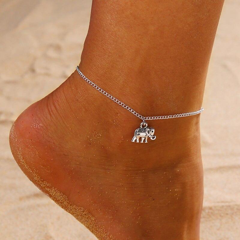 Retro single layer anklet ladies retro elephant pendant feet jewelry barefoot sandals ankle simple