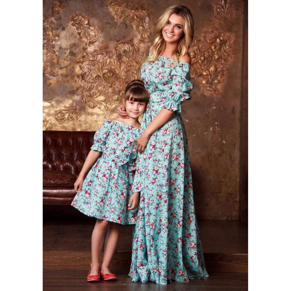 mother daughter extra long dress women 3xl family matching