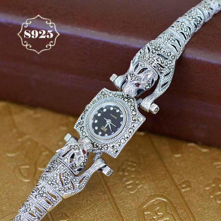 Hot Sale Retro S925 Sterling Silver Leopard Women Watch Women Pure Thai Silver Bracelet Cheetah Watches Dropshipping