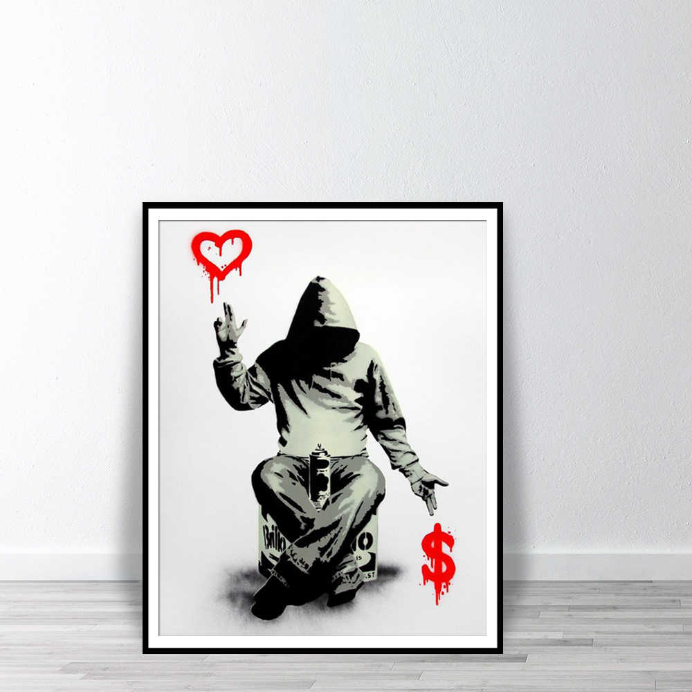 Banksy Street Graffiti Printable Painting Boy Love Money Wall Art Posters And Prints Wall Pictures For Bedroom