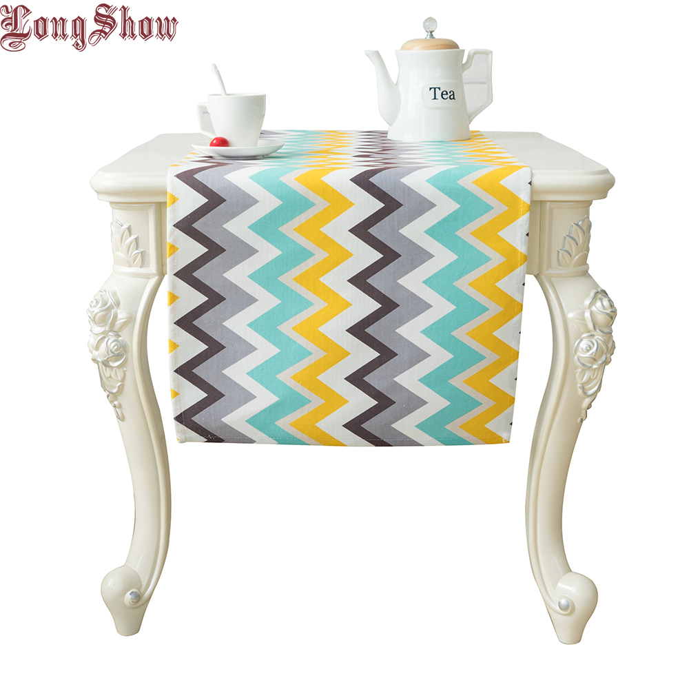 Free Shipping Modern Style Elegant Light Blue Colour Geometric Waves Pattern Soft Plushed Table Runner