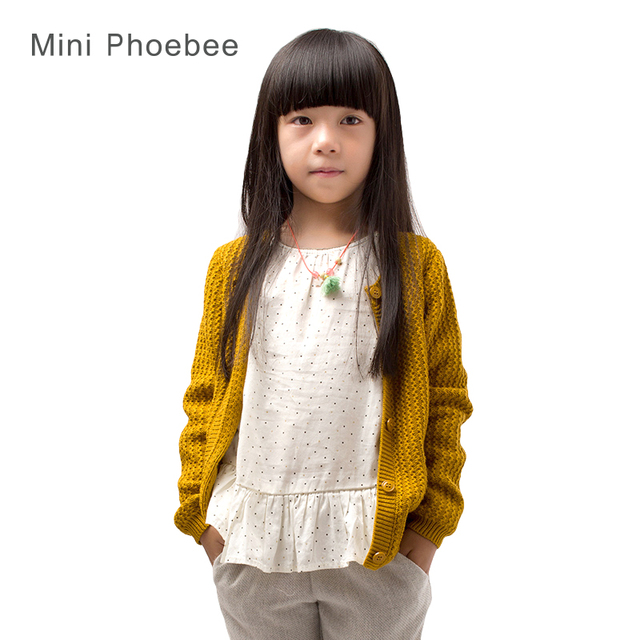 100% Cotton Girls sweaters for kids  2-8 years winter girls sweater Yellow pink cardigan for girl clothes Knitted child sweaters
