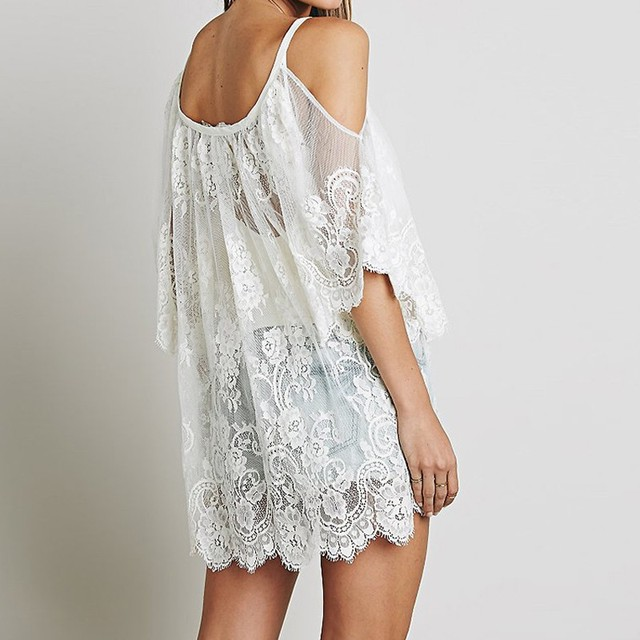 Beach Cover Up Floral Embroidery