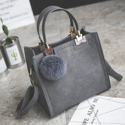 LANLOU handbag women shoulder bag luxury handbags women bags designer High-grade Scrub leather messenger bag Hairball women bag