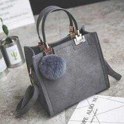 Lanlou bolsa feminina bolsa de ombro bolsas de luxo bolsas femininas designer de alta qualidade esfrega couro mensageiro saco de hairball