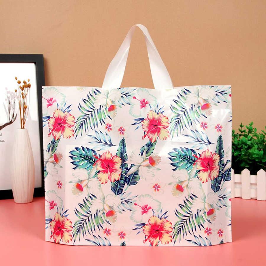 D & P 10Pcs יפה תודה לך מתנה קניות שקיות לטובת צד לעבות פלסטיק חתונה לולאה ידית תיק בגדים פלסטיק לשאת תיק