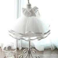 Белое платье на крестины новорожденных платья для маленьких девочек Bebes малыша Кружевное платье покроя