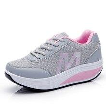 Woman Shoes Breathable Mesh Net Platform Slimming Shoes Breathable Mesh Sports Shoes Female Fitness Swing Platform Wedge Shoes