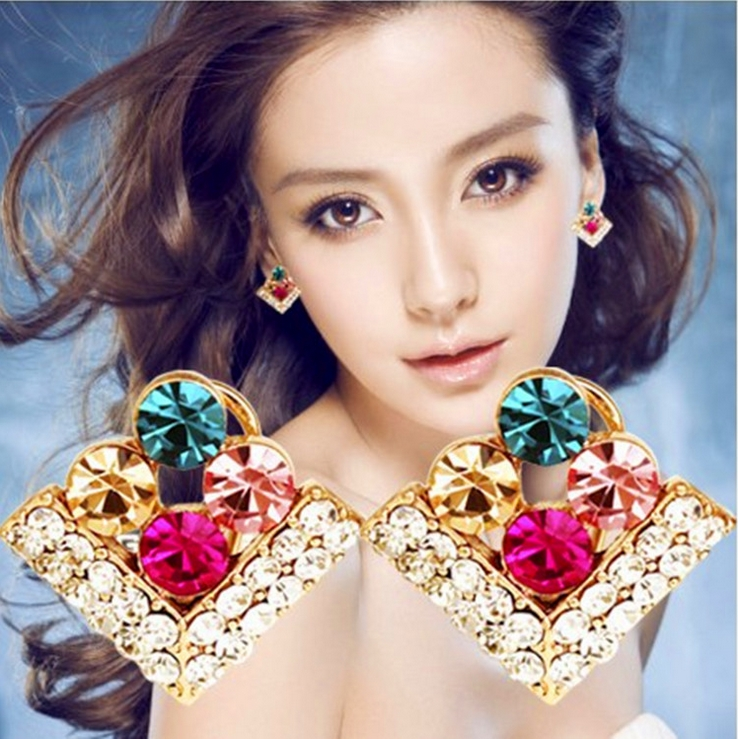 Pink Queen!! 2016 New Fashion Vintage Hot Sell Jewelry Crystal Stud Earring For Women Statement Earrings E279