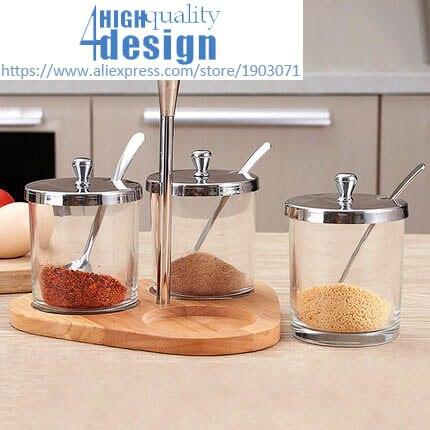 Assaisonnement pot ensemble verre créatif assaisonnement boîte maison assaisonnement réservoir cuisine sel réservoir avec couvercle de trou
