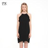 PK Ruffle Short Mini Dresses Women Black Halter Off Shoulder Female Black Ukraine Sexy Westido De