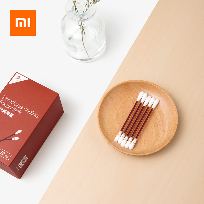 Xiaomi Povidone-lodine Swabstick 50PCS Dual-end Lodophor Antibacterial Anti-infection Cleaning Swab Sticks Home Trip Health Care