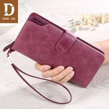 DIDE Wallets 2019 New 100% Genuine Leather ladies wallet Long zipper wallet Women's handbags clutch Bag Wallet Female Purple dide new 100