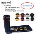 Apexel lente da câmera kit 12x zoom telefoto lente & wide-angle & macro lentes olho de peixe com o telefone preto case para iphone 6 apl-12x85