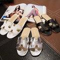 2016 Летний Пляж Горячие Продажа Sexy Women Casual Квартиры Кожаные Тапочки открытым Носком Обувь Выдалбливают Обувь Тапочки Большой Размер ЕС 35-40