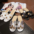 2016 Verano Playa de La Venta Caliente Mujeres Sexy Casual Pisos Zapatillas de Cuero Ahuecan Hacia Fuera Los Zapatos de Punta abierta Zapatillas Zapatos de Gran Tamaño de LA UE 35-40