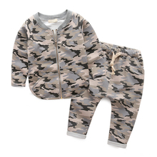 Kids spring 2016 Korean  new children's suit camouflage suit baby boy  pants suit jacket