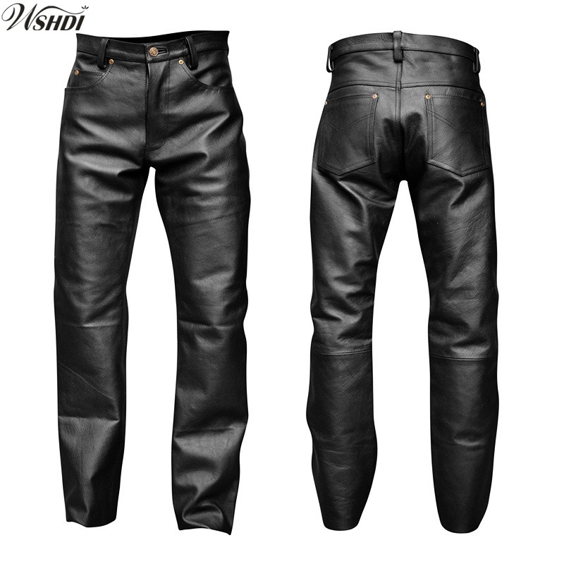 Mens Motorcycle Europe Buckle Skinny Trousers Gothic Pu Leather casual Pants