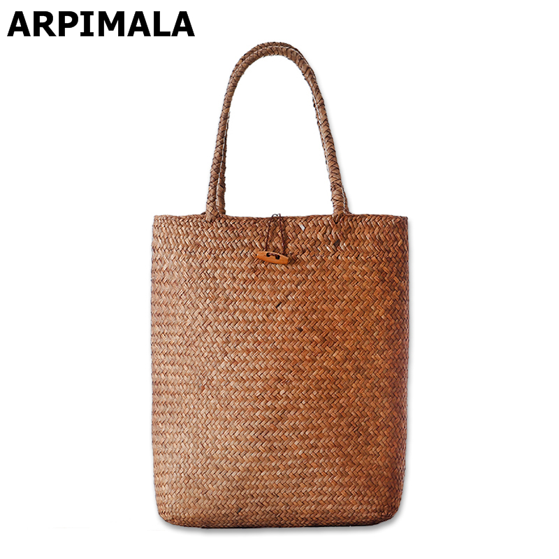 ARPIMALA 2017 Beach Bag for Summer Big Straw Bags Handmade Woven Tote Women Trav