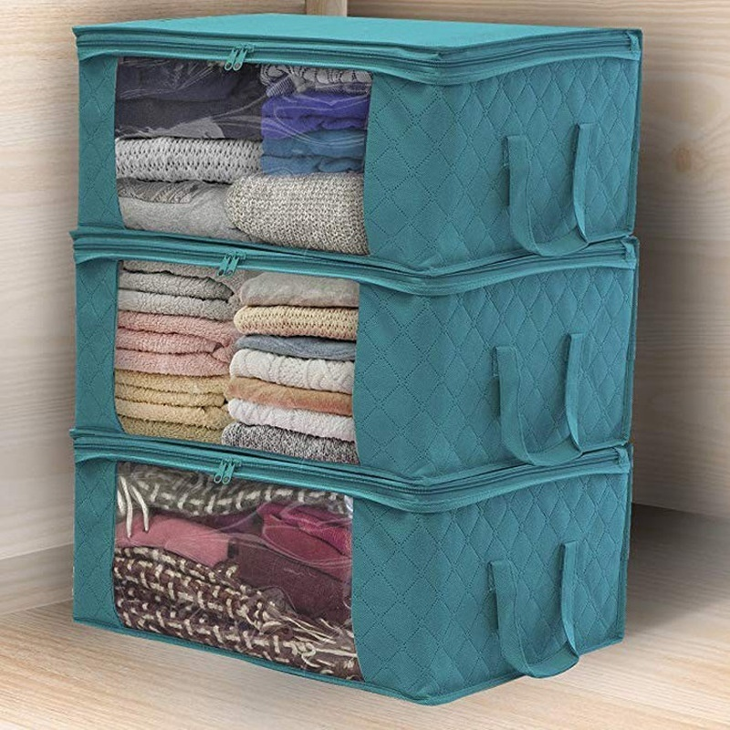 3Pcs Clothing Wardrobe Organizer Bag Clothes Blanket Quilt Closet Box Bag Home Foldable Storage Organization Wash Moisture-proof
