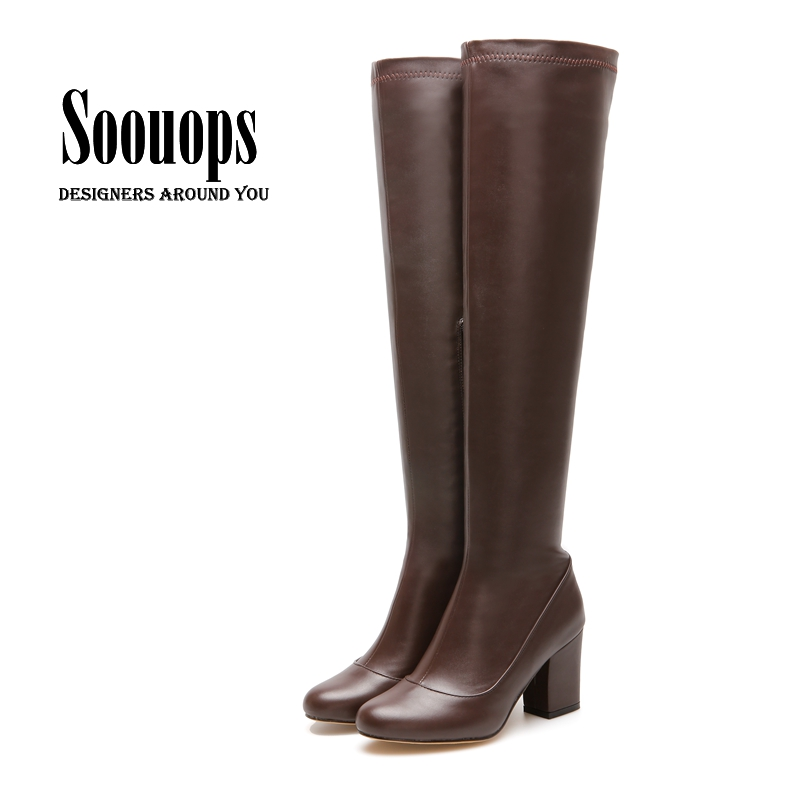 Big Size 33 45 Women Thigh High Boots Sexy Fashion Over The Knee High Boots Chunky Heels Plus Size Shoes Woman Black Brown Beige-In Over-The-Knee -6442