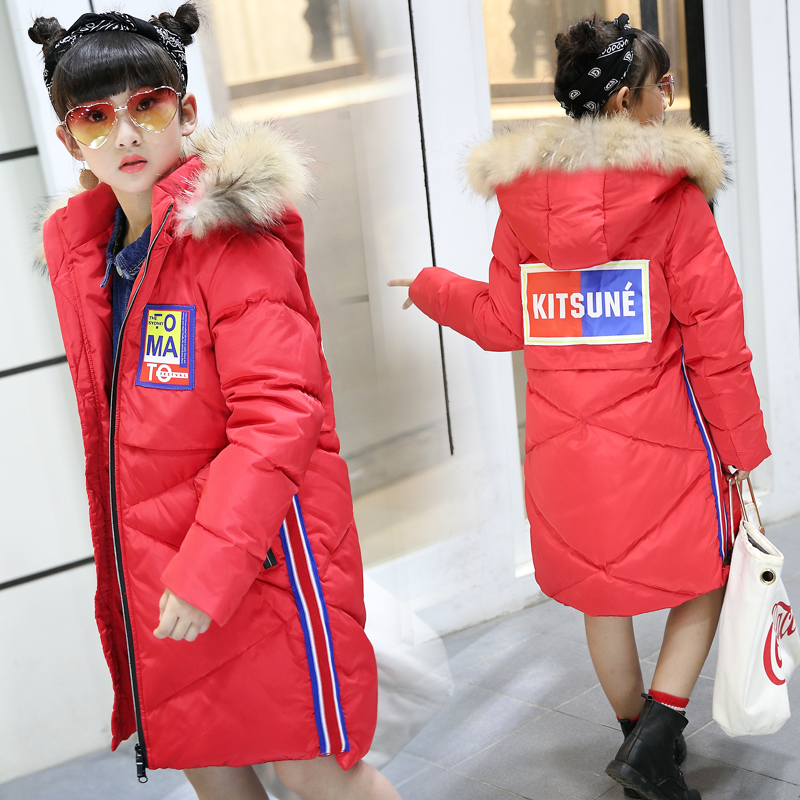 HSSCZL Girls Duck Down Jacket Winter 2018 New Outerwear Overcoat Long Hooded Fur Collar Chilldren Down Coats Natural Fur Collar a15 girls down jacket 2017 new cold winter thick fur hooded long parkas big girl down jakcet coat teens outerwear overcoat 12 14