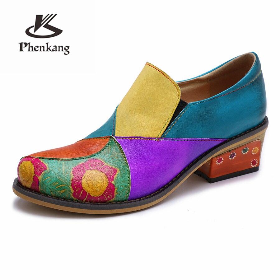 16a0f0b5 Verano La Zapatos Rojo Vintage Tacón Cuero Genuino 2019 De Bombas Green  Blue Para Mujer Oxford Las Mujeres Primavera 4xqAOqwX86