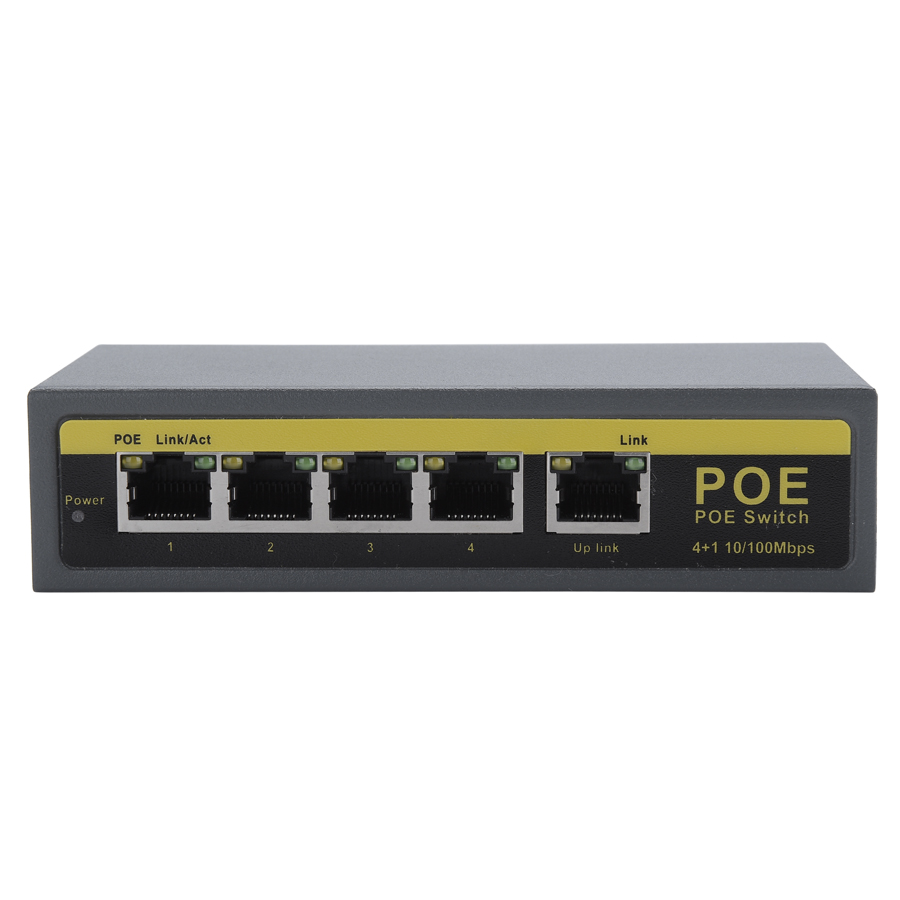 Hamrolte POE Switch 4CH IEEE802 3af 10 100Mbps Smart POE Switch For IP Camera NVR Security