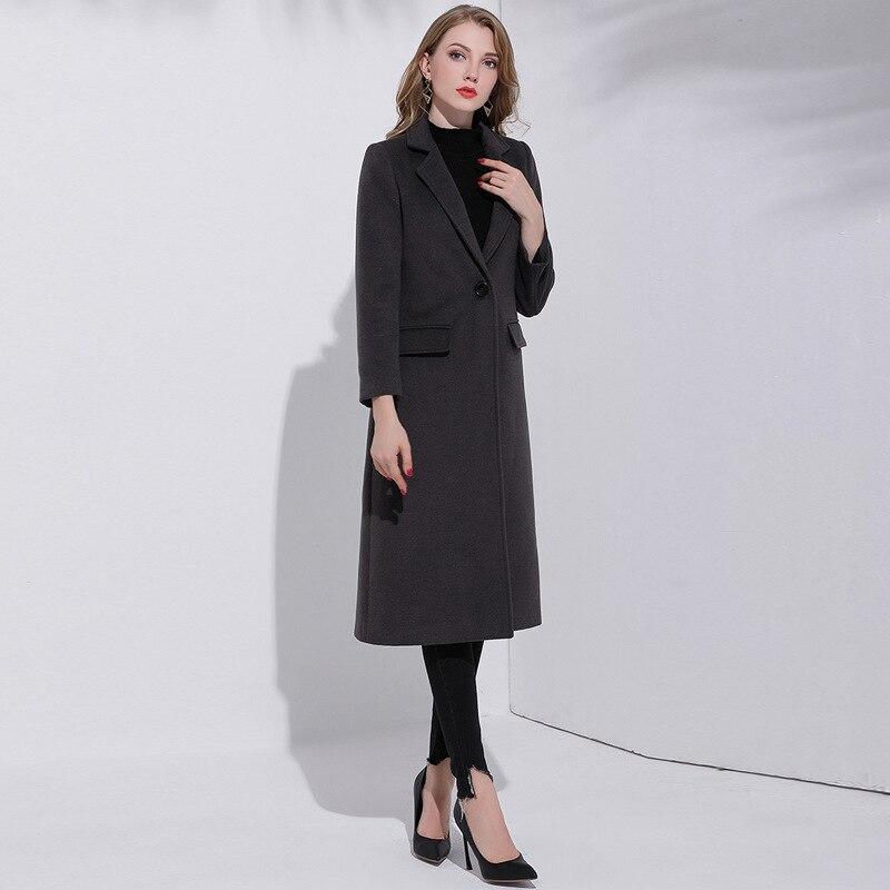 Poitrine Les Long Manteaux Gris Laine Femmes Tranchée Extra Side Manteau Pour Slim Dames Unique Double 2018 Fit Élégant BqzIwOH