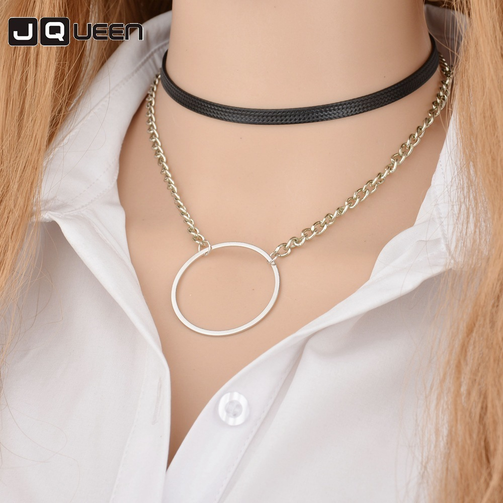 Concise Personality Geometric Circle Pendant Necklace Double-deck Chain Leather Rope Clavicle Choke Necklace Women Jewelry