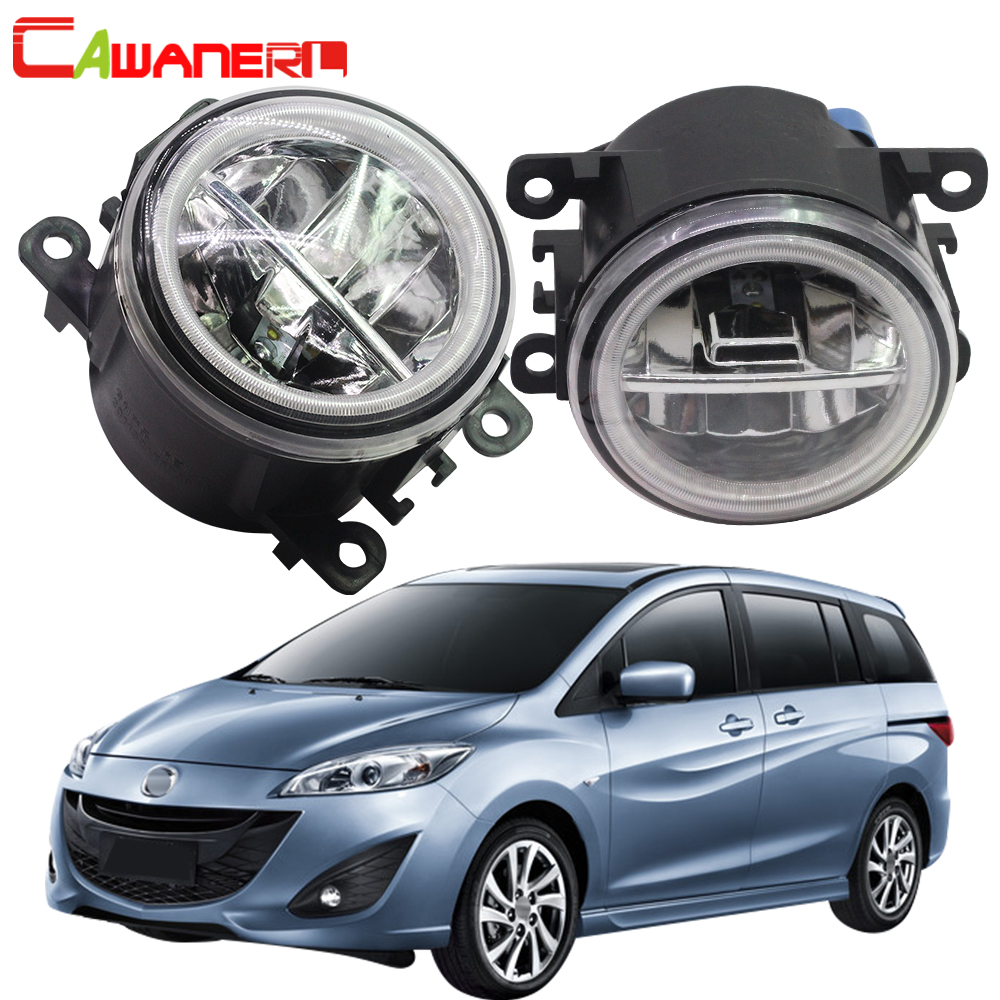 Cawanerl <font><b>2</b></font> X Car Accessories 4000LM LED <font><b>Lamp</b></font> <font><b>Fog</b></font> Light + Angel Eye DRL Daytime Running Light 12V For <font><b>Mazda</b></font> MPV II (LW) 1999-2006 image