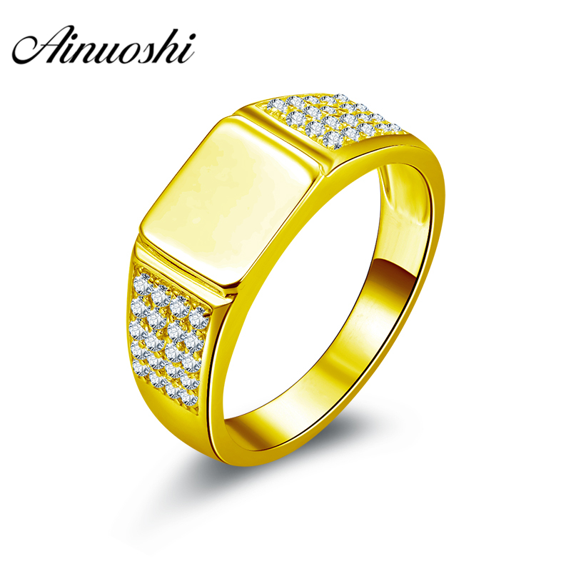 AINUOSHI Generous Smooth Gold Men Ring 10K Solid Yellow Gold Male Ring Rows Drill Engagement Wedding Jewelry 6.2g Wedding Band цена и фото