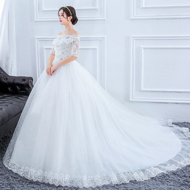Plus Size Prachtige Lange Trein Trouwjurken Lace Kralen Baljurk Van De Schouder Elegante Bruid Jurken Luxe Bruidsjurken