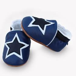 2019 Новое поступление, зимняя детская обувь со звездами, из натуральной кожи, с плюшевой подкладкой, детские мокасины с твердой подошвой, с