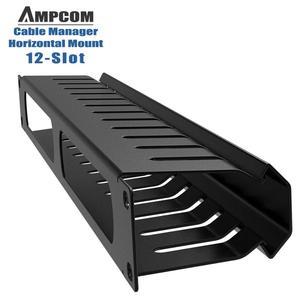 Image 4 - AMPCOM 1U Кабельное управление, горизонтальное Крепление, 19 дюймовая серверная стойка, 12/24 слотов, металлический органайзер для проводов с крышкой