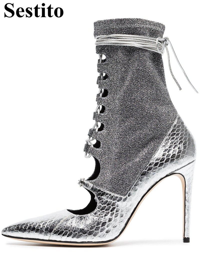 Fashion Silver Snake Pattern Hollow Pointed Toe Woman Boots Thin Heels Ankle Boots For Women Zip Short Boots Casual Women ShoesFashion Silver Snake Pattern Hollow Pointed Toe Woman Boots Thin Heels Ankle Boots For Women Zip Short Boots Casual Women Shoes