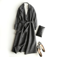 100% Hand make wool coat Double sided cashmere wool coat both back and positive can wear plaid women wool coat